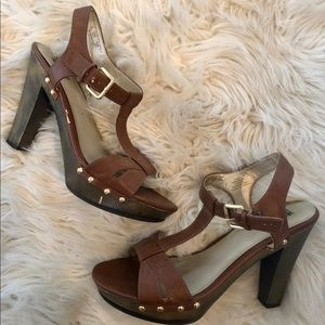 Trend Report Brown Heels with Gold Studs Size 9.5